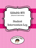 Editable RTI (Response to Intervention) Student Intervention Log