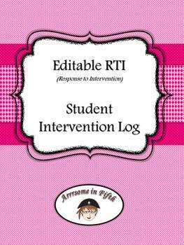 Editable RTI (Response to Intervention) Student Intervention Log