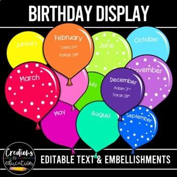 Editable Rainbow Balloon Birthday Display