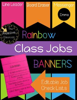 Editable Rainbow Banner Class Jobs