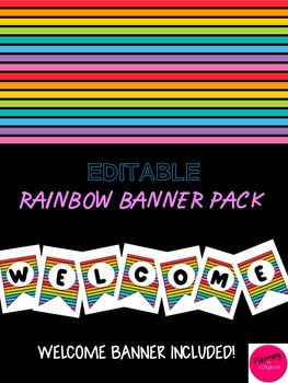 Editable Rainbow Banner Pack