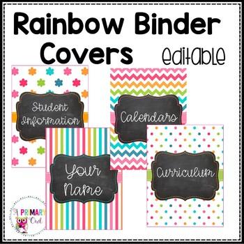 Editable Rainbow Binder Covers