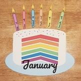 Editable Rainbow Birthday Cake Display