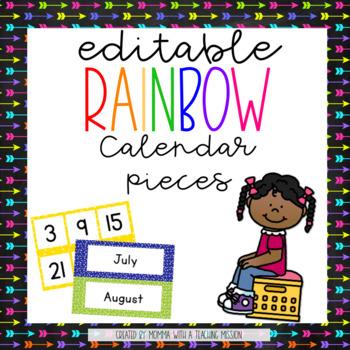 Editable Rainbow Calendar Display Board (Rainbow Classroom Decor)