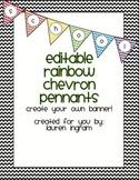 Editable Rainbow Chevron Pennant Banner
