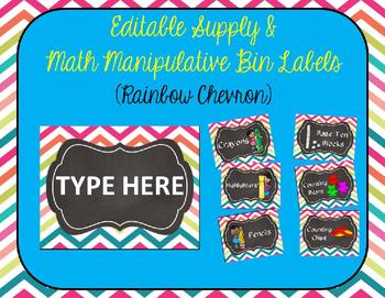 Editable Rainbow Chevron Supply and Math Manipulative Bin Labels