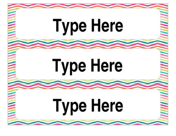 Editable Rainbow Chevron Table Numbers and Name Tags