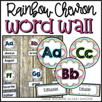 Editable Rainbow Chevron Word Wall Set