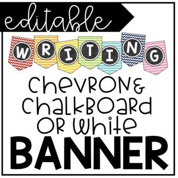 Editable Rainbow Chevron and Chalkboard Banner