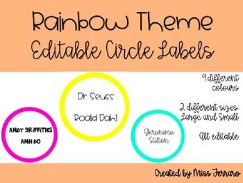 Editable Rainbow Circle Labels