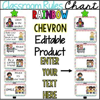 Editable Rainbow Classroom Rules
