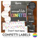 CONFETTI Editable Classroom Labels + Poster