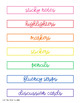 Editable Rainbow Desktop Toolkit Labels | Guided Reading and Math