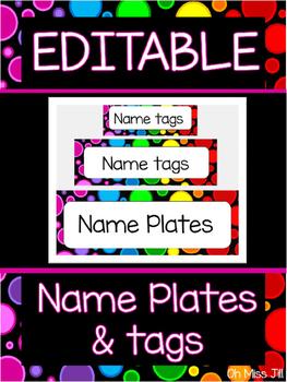Editable Rainbow Dot Name Plates and Name Tags