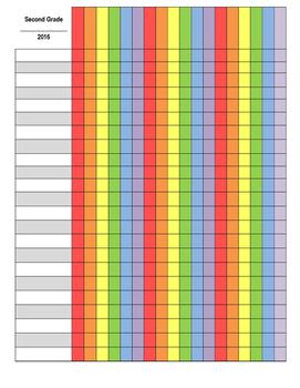 Editable Rainbow Gradebook Template