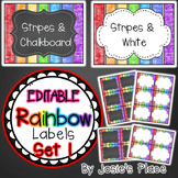 Editable Rainbow Labels Chalkboard & White Frame Set 1