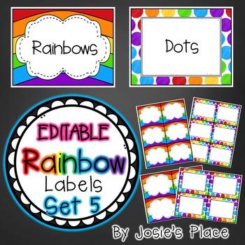 Editable Rainbow Labels Set 5