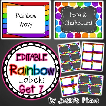 Editable Rainbow Labels Set 7