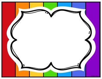 Editable Rainbow Labels Set 8