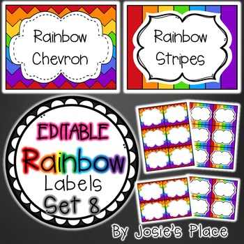 Editable Rainbow Labels Set 8