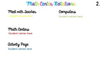 Editable Rainbow Math Center Rotation Slides