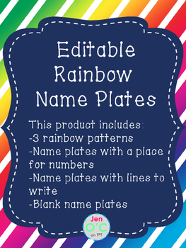 Editable Rainbow Name Tags or Name Plates