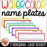 Editable Watercolor Name Tags / Name Plates