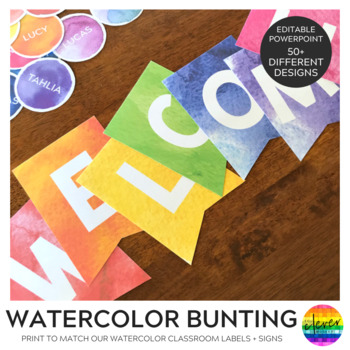 Editable Rainbow Paint Splat Bunting