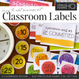 Editable Rainbow Paint Splat Classroom Labels