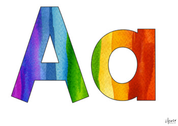 Editable Rainbow Paint Splat Letters and Numbers