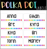 Editable Rainbow Polka Dot Name Labels