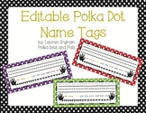 Editable Rainbow Polka Dot Name Tags