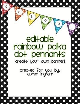 Editable Rainbow Polka Dot Pennant Banner