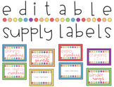 Editable Rainbow Polka Dot Supply Labels