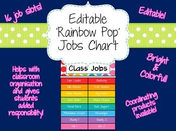 Editable 'Rainbow Pop' Classroom Jobs Chart