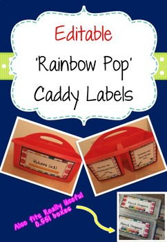Editable 'Rainbow Pop' Table Caddy Lables