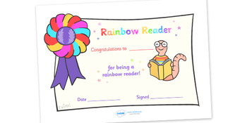 Editable Rainbow Reader Book Certificate