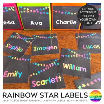 Editable Rainbow Star Chalkboard Classroom Labels