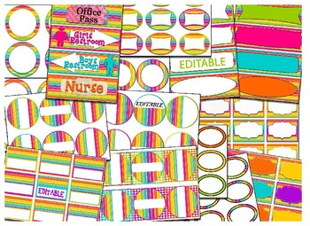 Editable Rainbow Stripe Themed Labels & Tags & Hall Passes Bundle