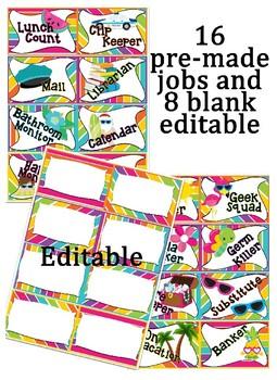 Editable Rainbow Stripe themed Classroom Jobs Clip Chart