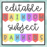 Editable Rainbow Subject Banners