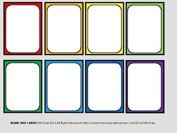 Editable Rainbow Task Cards