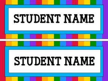 Editable Rainbow Theme Student Name Tags