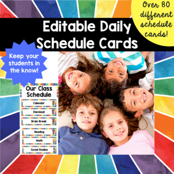 Daily Schedule Cards Rainbow Watercolor Theme (Editable) Display
