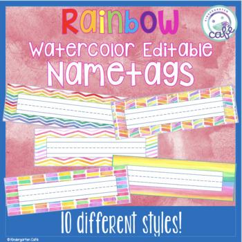Editable Rainbow Watercolor Nameplates/Nametags!