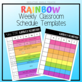Editable Rainbow Weekly Schedule Templates - Use for Dista