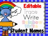 Editable Rainbow Write: Student Names