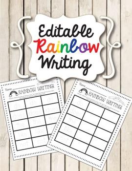 Editable Rainbow Writing (Word Practice)
