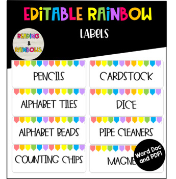 Editable Rainbow small labels