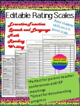Editable Rating Scales-Writing, Reading, Math, EF and SL